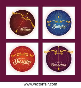 set of templates for indian festival dussehra celebration