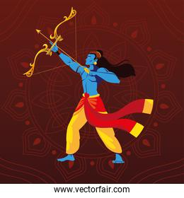 lord Rama with bow and arrow on floral decorative background