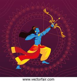 lord Rama with bow and arrow in floral decorative background
