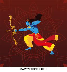 lord Rama with bow and arrow over floral decorative background