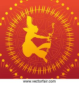 silhouette of lord rama with bow and arrow for the Indian festival Dussehra