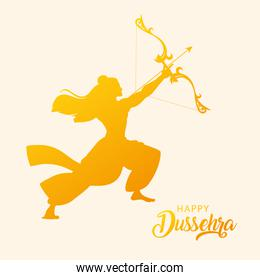 silhouette of lord rama with bow and arrow in happy dussehra festival