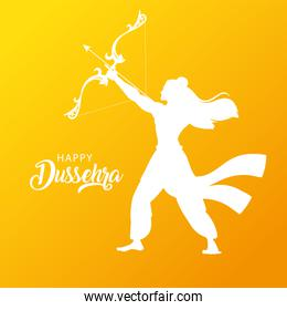silhouette of lord rama with bow and arrow
