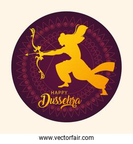 lord Rama with bow and arrow, poster with text happy Dussehra