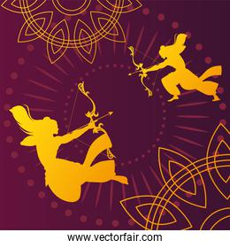 silhouettes of Lord Rama with bow and arrow for the Indian festival Dussehra