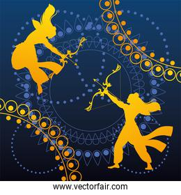 silhouettes of Lord Rama with bow and arrow for the Indian festival