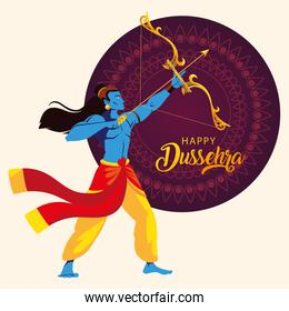 lord Rama with bow and arrow, text happy Dussehra