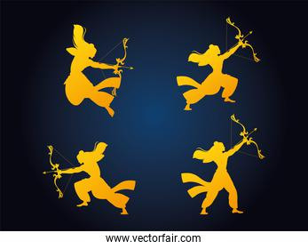 set of silhouettes of the Lord Rama with bow and arrow