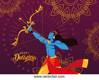 poster of lord Rama with bow and arrow in happy Dussehra festival