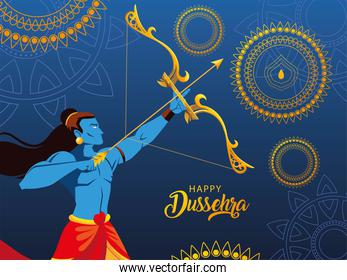 poster of lord Rama with bow and arrow in happy Dussehra