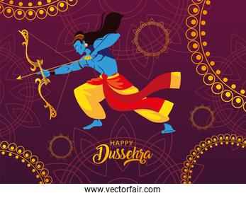 poster of lord Rama with bow and arrow, label happy Dussehra