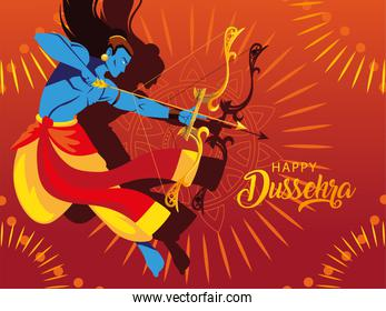 poster of lord Rama with bow and arrow, text happy Dussehra
