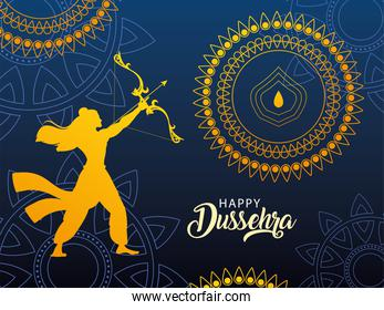 template with lord rama and label happy Dussehra