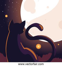 halloween background with cat in dark night and full moon