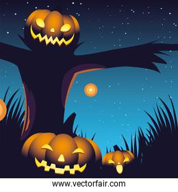 halloween night background with pumpkins and scarecrow