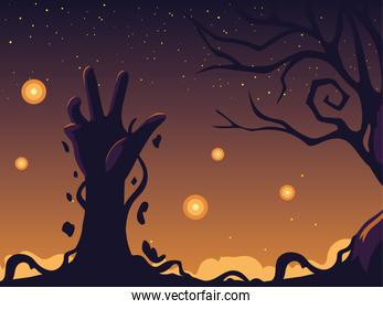 halloween night background with zombie hand