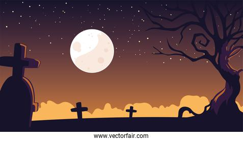 halloween background with spooky graveyard