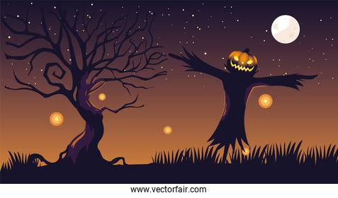 halloween dark night background with scarecrow and full moon