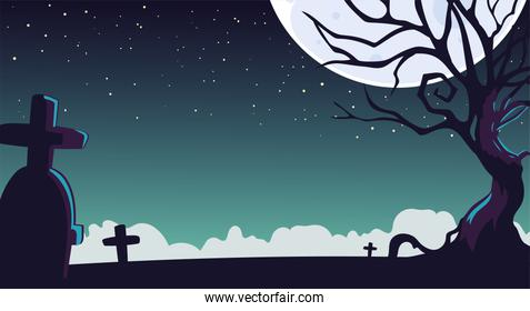 halloween night background with a cemetery and a moon