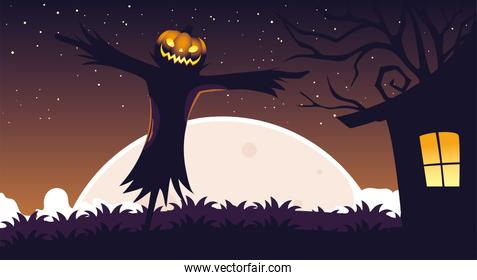 halloween background with scarecrow in the dark field