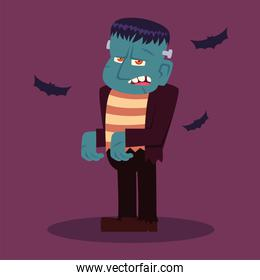 frankenstein character for happy halloween