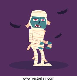 mummy character for happy halloween