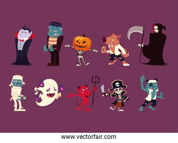 set of funny characters for hallowwen