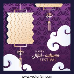 happy mid autumn festival or moon festival with lantern