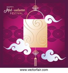 mid autumn festival or moon festival with lantern and clous