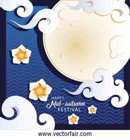 mid autumn festival or moon festival with moon and clouds