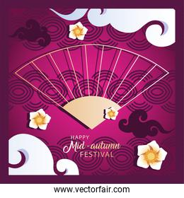 happy mid autumn festival or moon festival with flowers and chinese fan