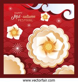 mid autumn festival or moon festival with flowers
