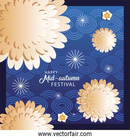 happy mid autumn festival or moon festival with flowers