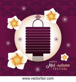 happy mid autumn festival or moon festival with lantern and flowers