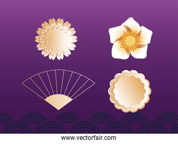 set of decorative elements for mid autumn festival
