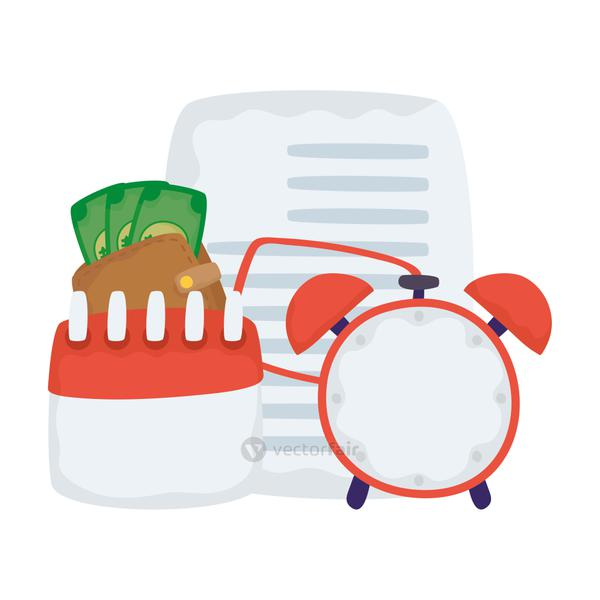 paper document file with financial icons