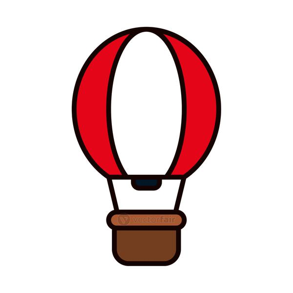 hot air balloon icon, line and fill style