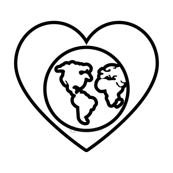 heart with earth planet icon, line style