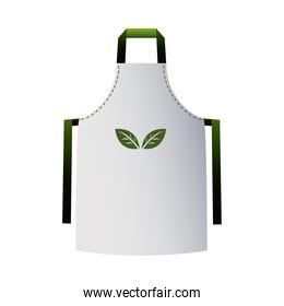 green and white cooking apron with corporate designs