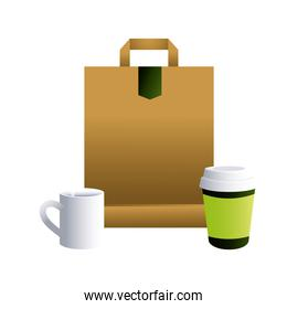 bag paper and cups coffe for brands image