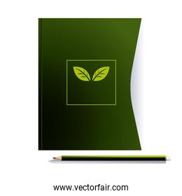 notebook with pencil and colors corporation