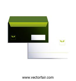 envelope green and white with corporate branding
