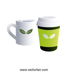Ceramic and cardboard coffee cup with corporate designs
