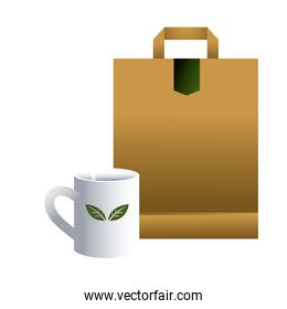 bag paper and cups ceramic white for brands image