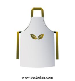 brown and white cooking apron with corporate designs