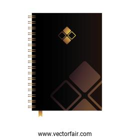 bound notebook with corporate brand