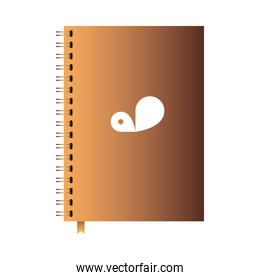 bound notebook with company brand