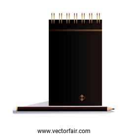 notebook with pencil black in image corporation