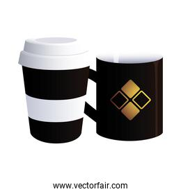 coffee cup black with corporate designs