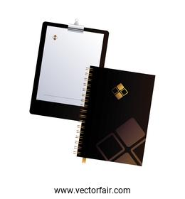 clipboard and notebook black with corporate design